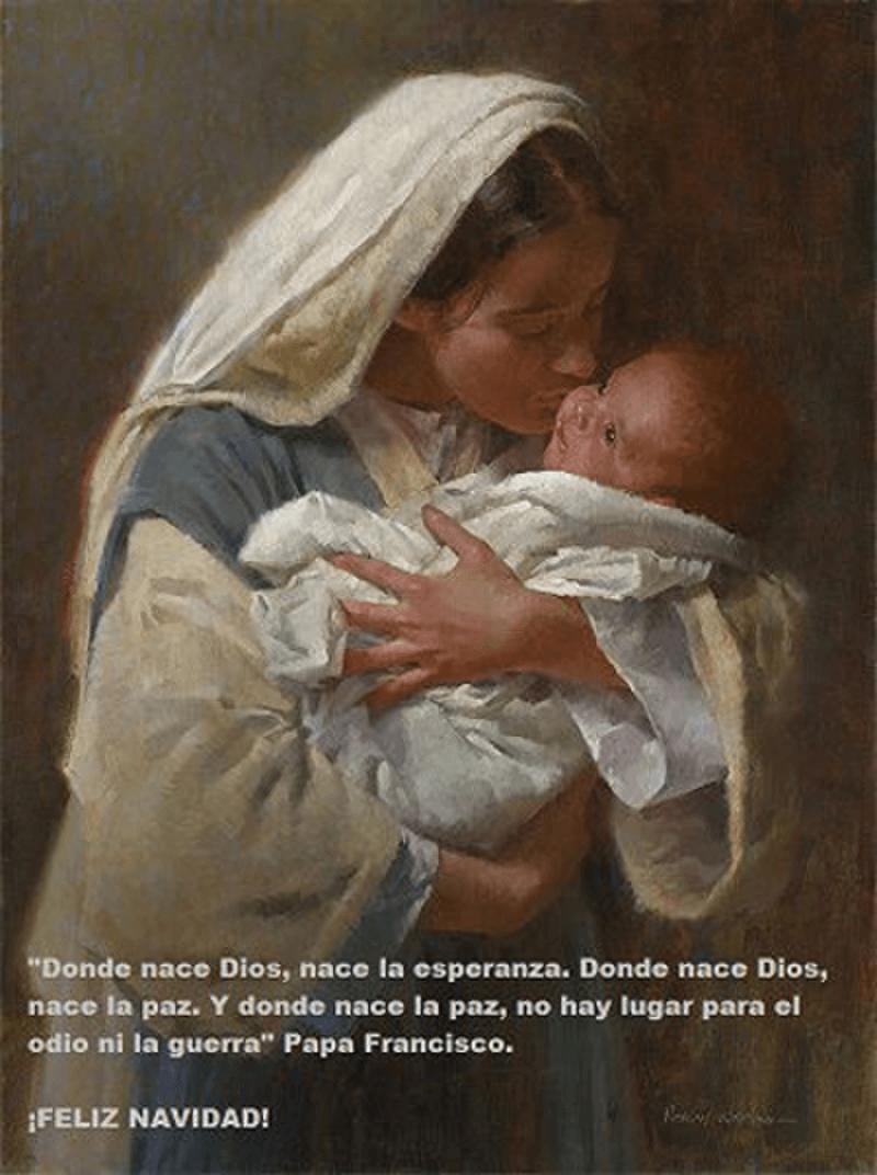 EasyFeedback La Virgen Maria y el Niño Jesus en sus brazos